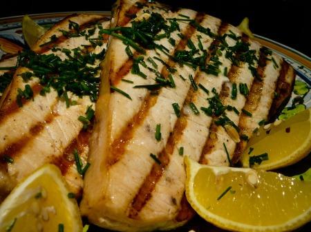 grilled swordfish served