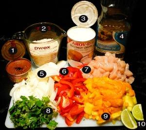 mango chicken curry prep