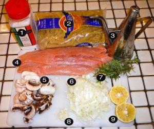 salmon pasta prep