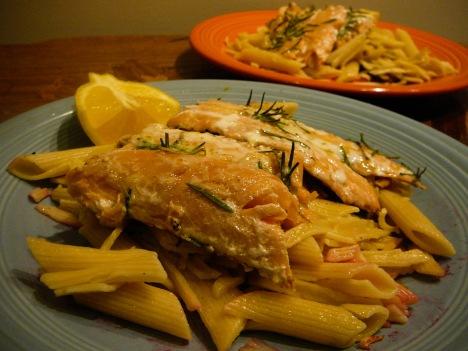 salmon pasta served 2