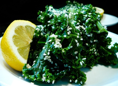 steamed sesame kale served