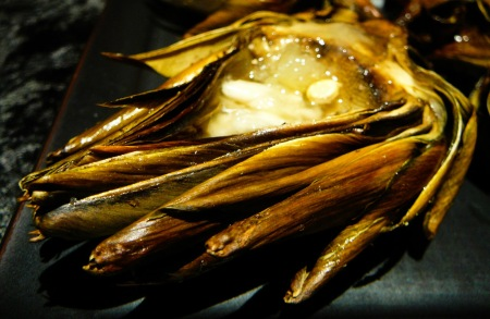 roast artichoke served