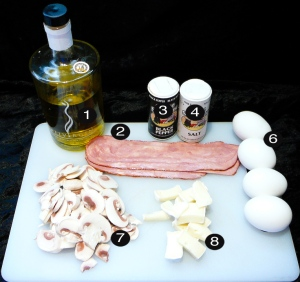 musrhoom bacon brie eggs prep