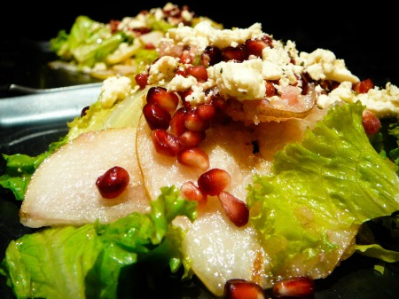 pomegranate feta pear salad served
