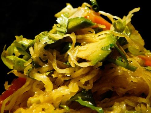 spaghetti squash salad served